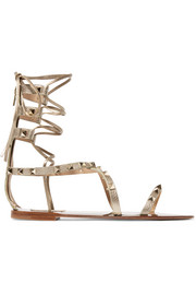 Rockstud metallic textured-leather lace-up sandals