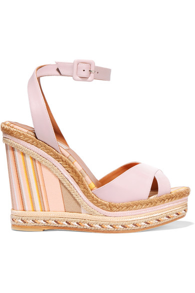 Valentino - Leather And Striped Canvas Espadrille Wedge Sandals - Blush