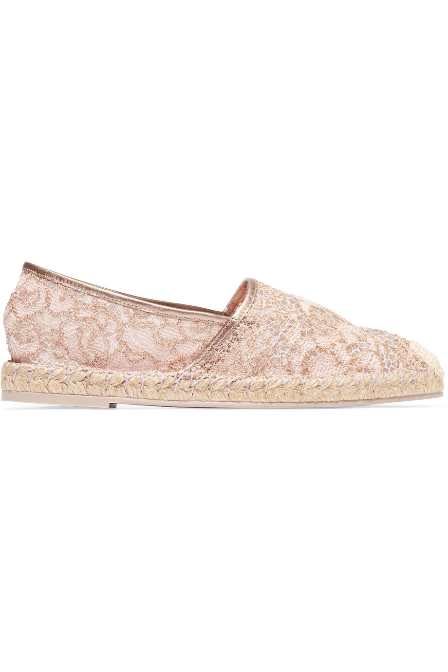 Valentino Leather-Trimmed Lace Espadrilles, Blush, Women's US Size: 7.5, Size: 38
