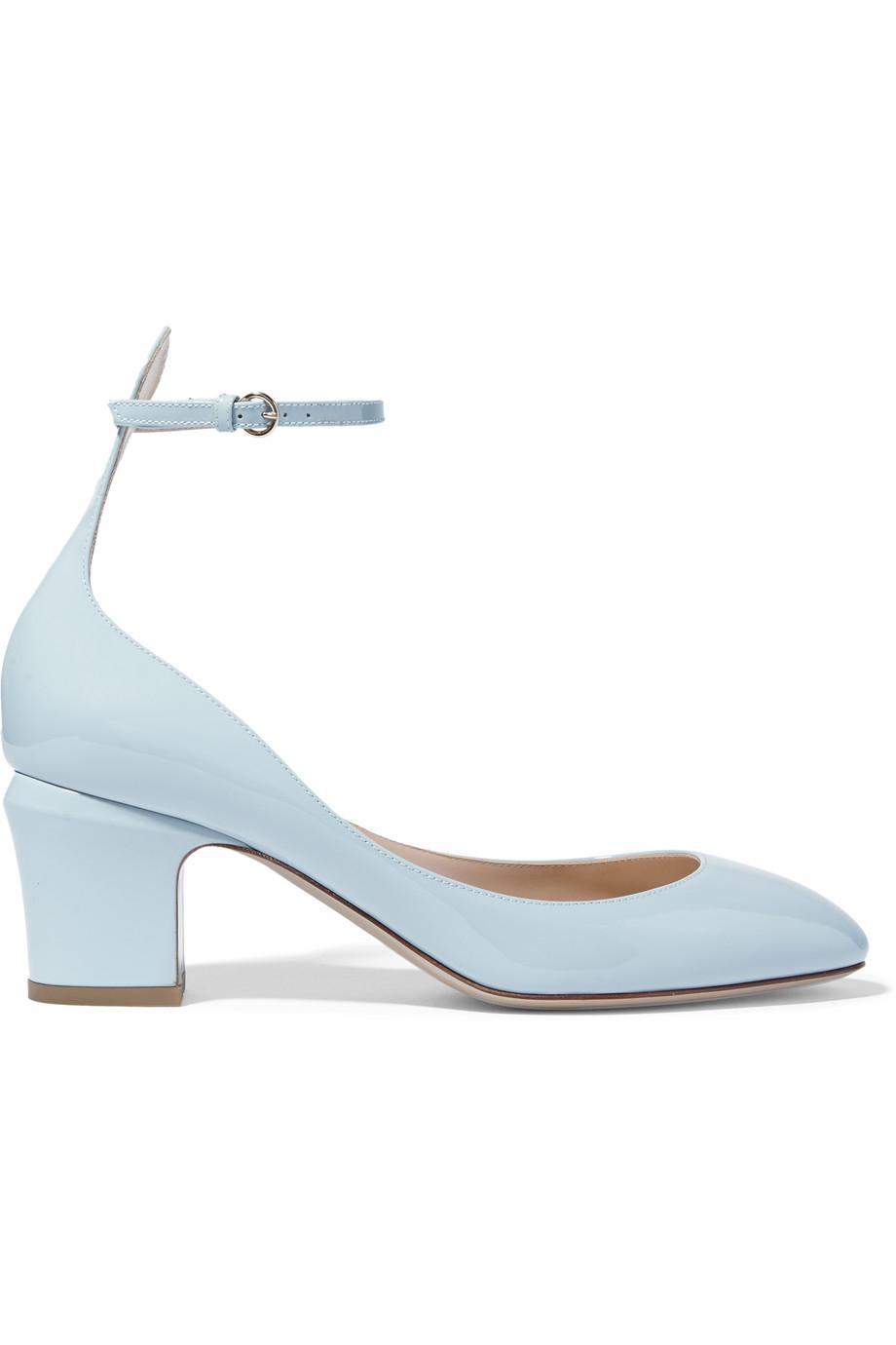Valentino Tan-Go Patent-Leather Pumps, Light Blue, Women's US Size: 5, Size: 35.5