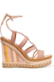 Suede and striped canvas espadrille wedge sandals