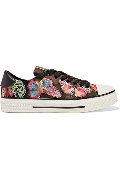 valentino female 227429 valentino embroidered appliqued canvas and leather sneakers green