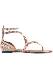Love Latch eyelet-embellished lizard sandals