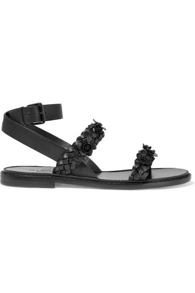 Valentino - Embellished Braided Leather Sandals - Black