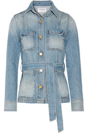 Le Patch Pocket belted denim jacket