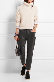 Frame Denim Le Garcon stretch-leather slim boyfriend pants