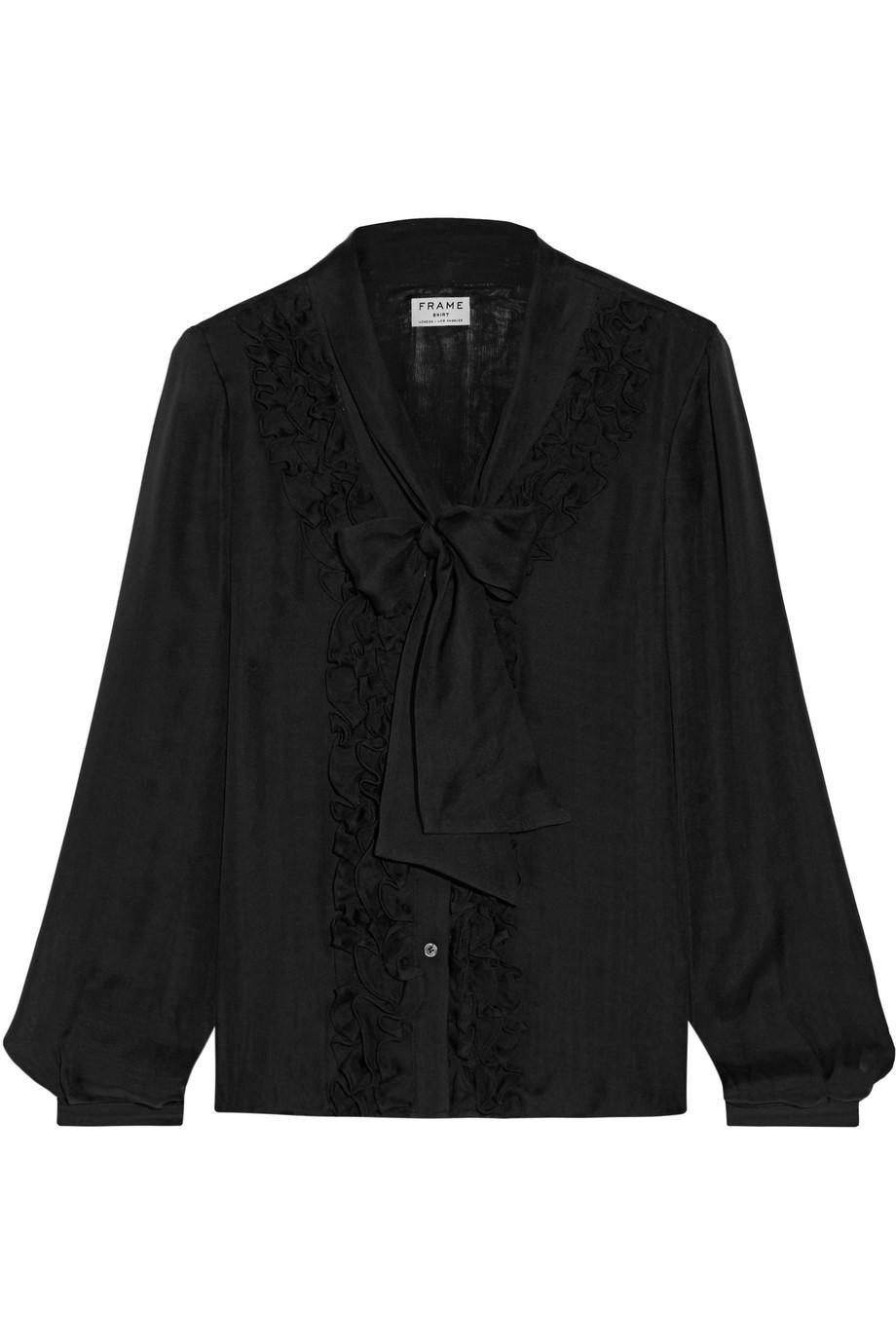 Frame Denim Le Ruffle Pussy-Bow Silk Shirt, Black, Women's