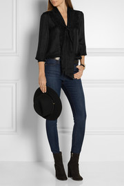 Frame Denim Le Ruffle pussy-bow silk shirt