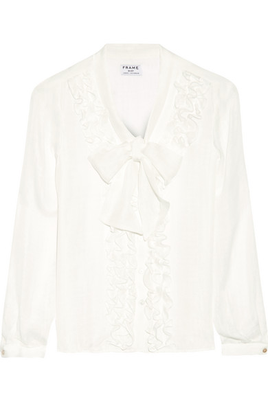 Frame - Le Ruffle Pussy-bow Silk Shirt - Off-white