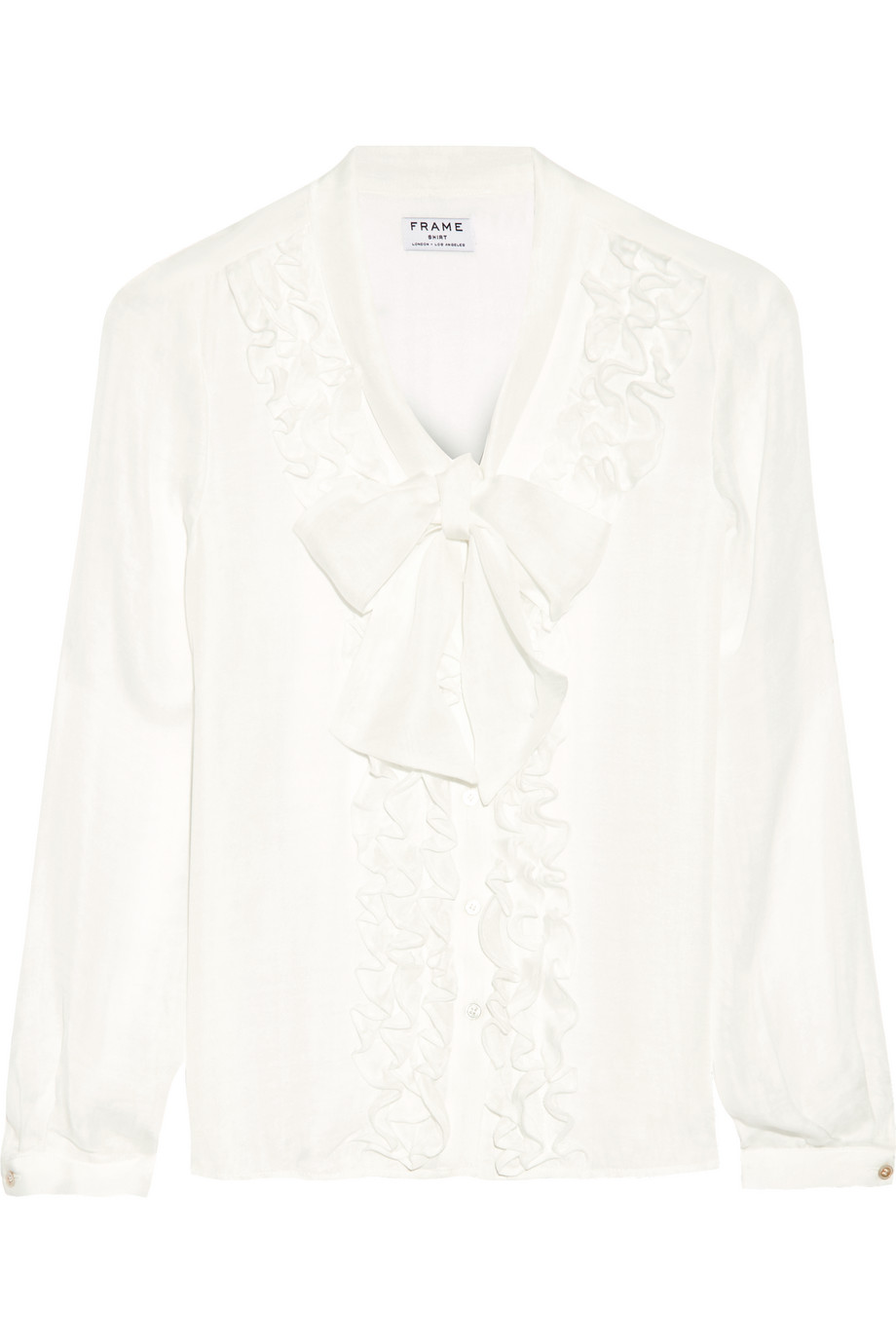 Le Ruffle Pussy-Bow Silk Shirt, Off-White, Women's