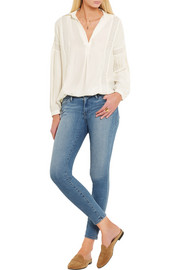 Frame Denim Le Lace lace-paneled silk-charmeuse blouse