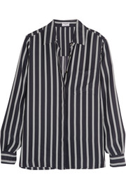 Le Boyfriend striped silk-charmeuse shirt