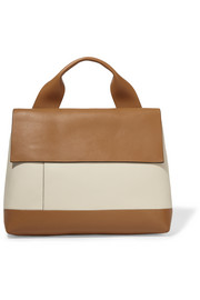 City Pod two-tone leather tote