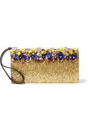 Embellished glittered leather clutch