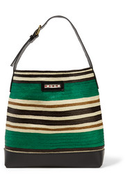 Leather-trimmed raffia tote