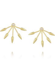 5 Spike gold-plated pearl earrings