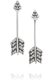 Pamela Love Shooting Arrow silver crystal earrings