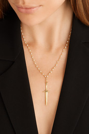 Dagger Pendant gold-plated freshwater pearl necklace