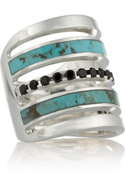 Inlay silver, turquoise and spinel ring