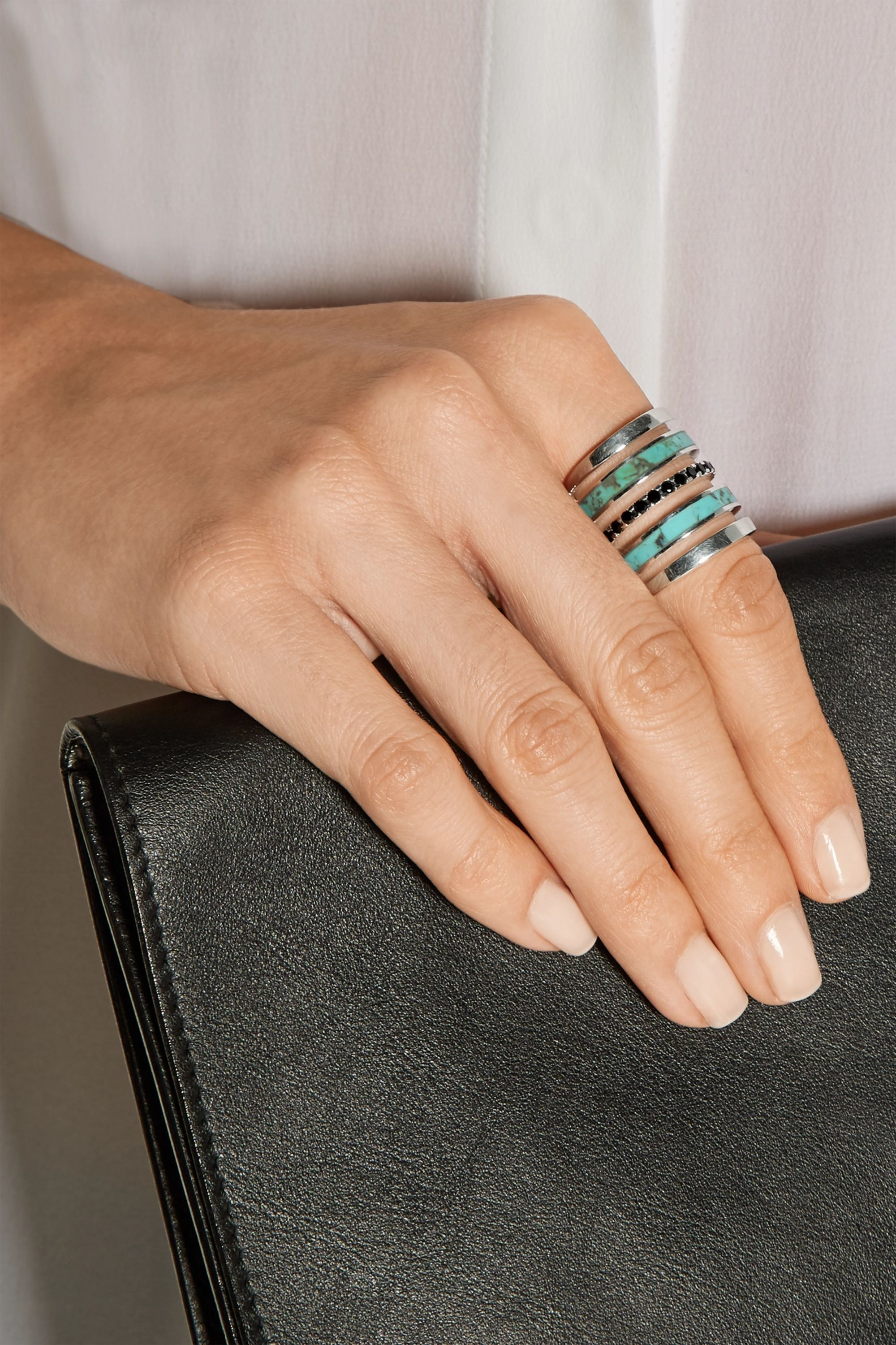Pamela Love Inlay silver, turquoise and spinel ring