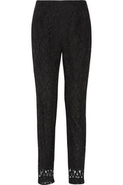 Guipure lace tapered pants