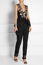 Marchesa Guipure lace tapered pants