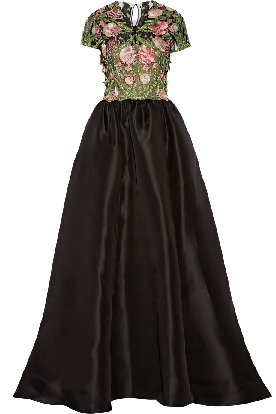 Marchesa Floral-Appliquéd Tulle and Silk-Faille Gown, Black, Women's - Floral, Size: 6