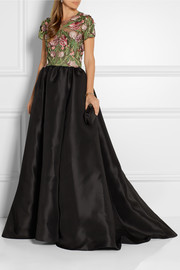 Marchesa Floral-appliquéd tulle and silk-faille gown