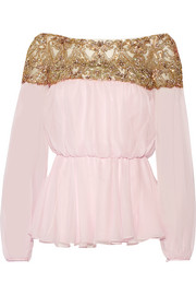 Embellished tulle and silk-chiffon blouse