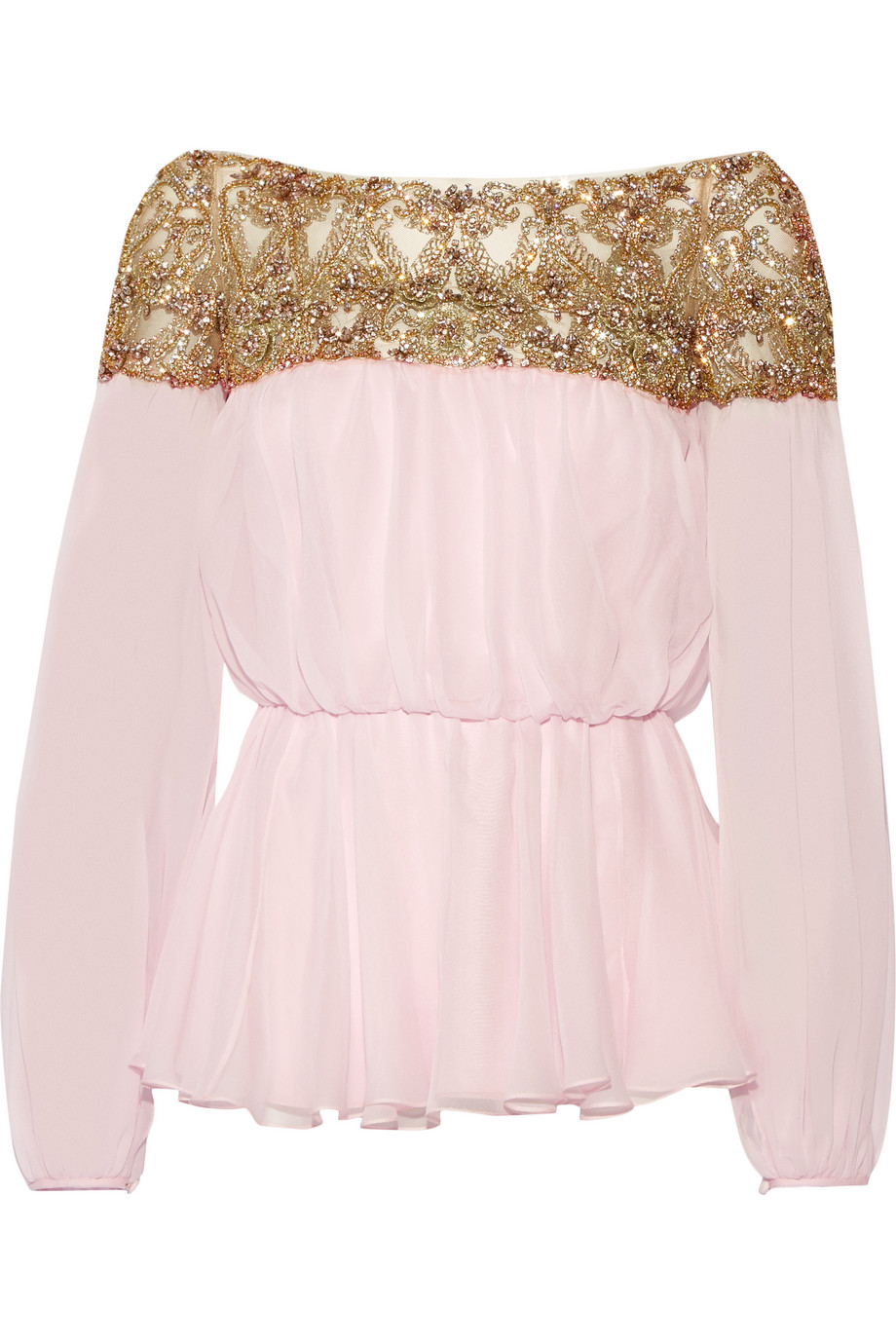 Marchesa Embellished Tulle and Silk-Chiffon Blouse, Pastel Pink/Gold, Women's, Size: 4