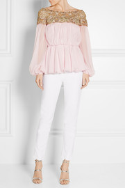 Marchesa Embellished tulle and silk-chiffon blouse
