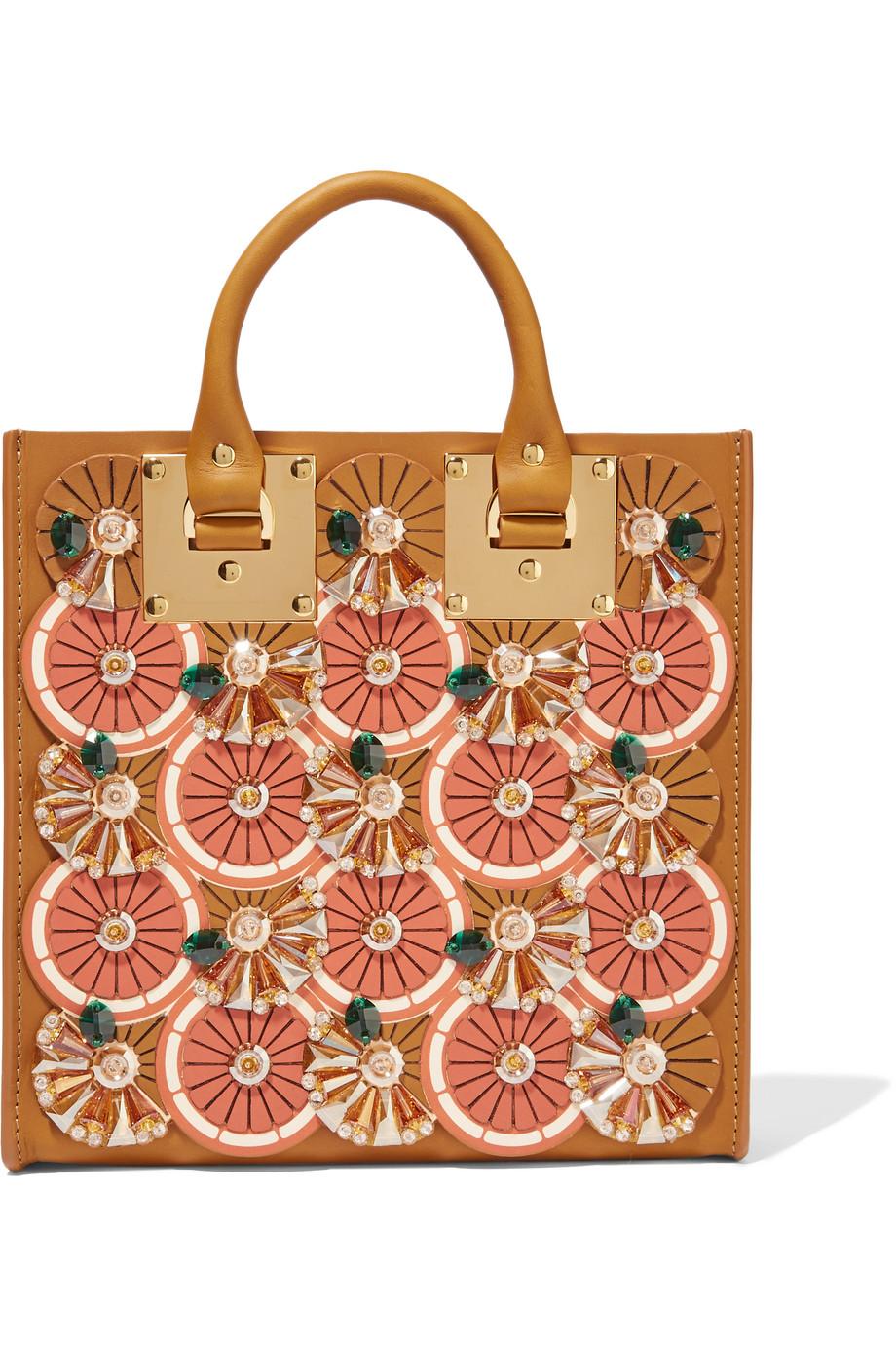 Sophie Hulme Albion Embellished Matte-Leather Tote, Tan/Orange, Women's
