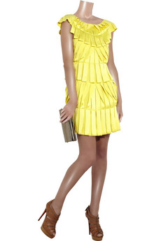 Temperley London Pleated satin dress