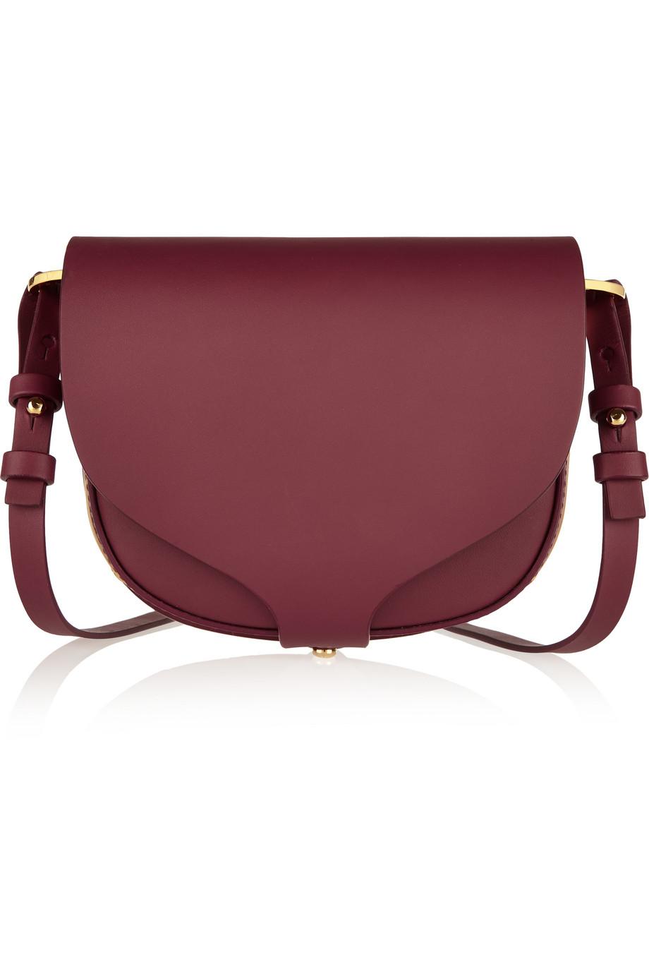 Sophie Hulme Barnsbury Mini Leather Shoulder Bag, Burgundy, Women's