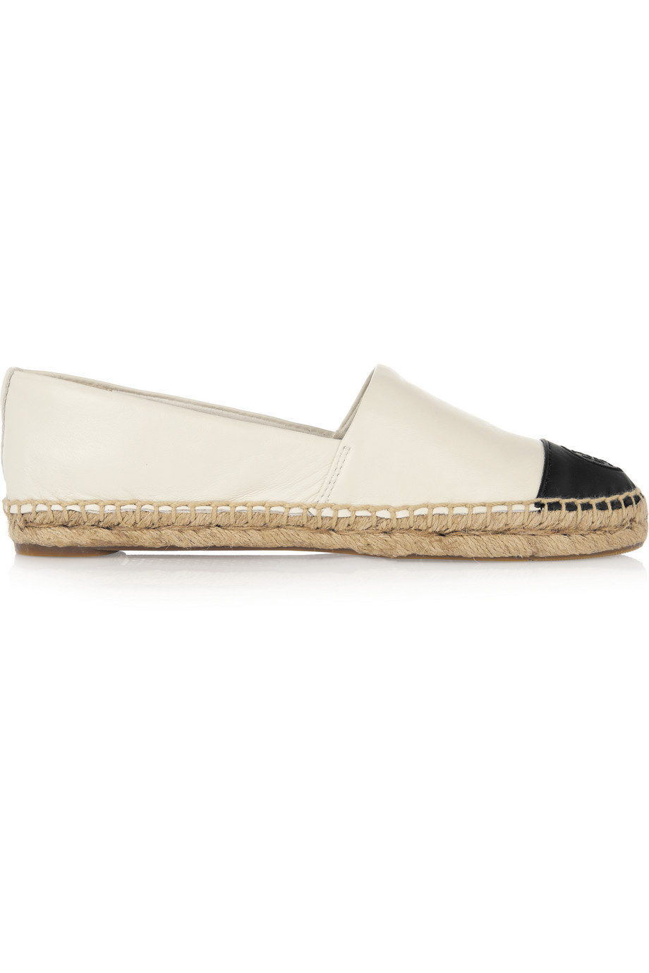 Tory Burch Two-Tone Leather Espadrilles, Ivory, Women's, Size: 8.5