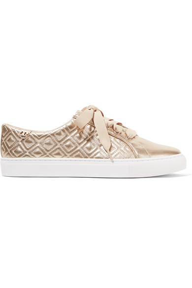 ca8b483332c1 Tory Burch. Marion quilted metallic leather sneakers