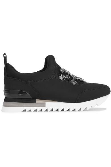 Tory Burch - Rosas Embellished Mesh-paneled Neoprene Slip-on Sneakers - Black