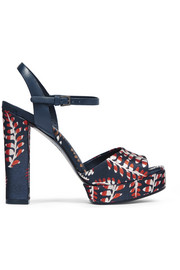 Solana leather-trimmed jacquard platform sandals
