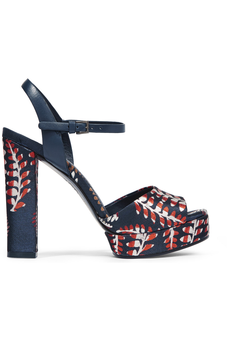 Tory Burch Solana Leather-Trimmed Jacquard Platform Sandals, Navy, Women's, Size: 9