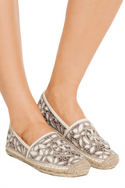 Tory Burch Rhea embroidered leather and mesh espadrilles