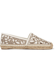 Rhea embroidered leather and mesh espadrilles