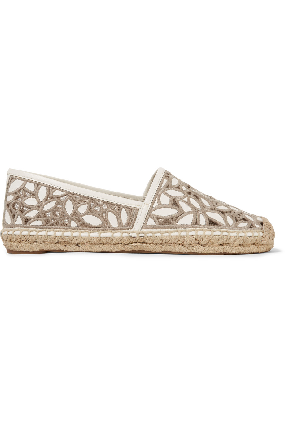 Tory Burch Rhea Embroidered Leather and Mesh Espadrilles, Taupe, Women's, Size: 9.5