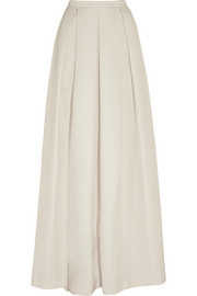 Pleated metallic basketweave maxi skirt