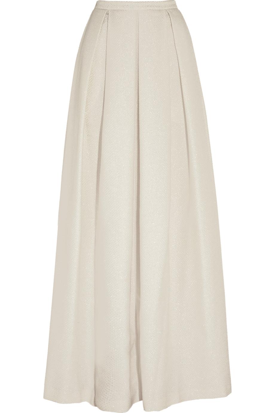 Jenny Packham Pleated Metallic Basketweave Maxi Skirt, Cream, Women's, Size: 8