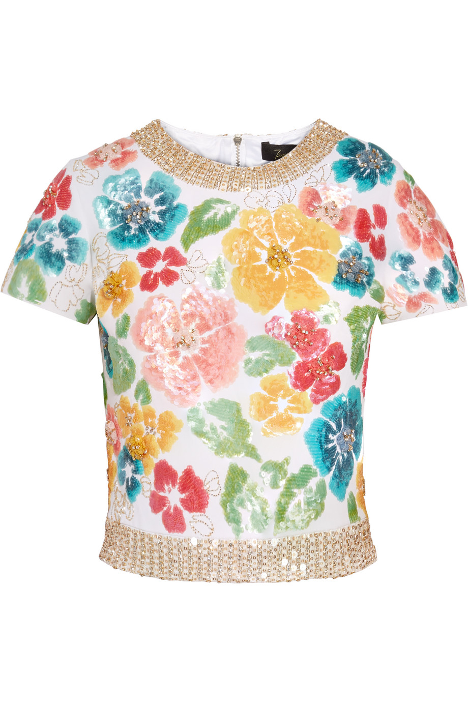 Jenny Packham Embellished Silk-Twill Top, White/Metallic, Women's, Size: 10