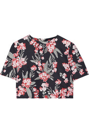 Bibbi cropped floral-print twill top