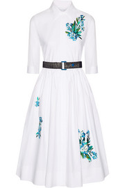 Jonathan Saunders Liv embroidered cotton-poplin dress