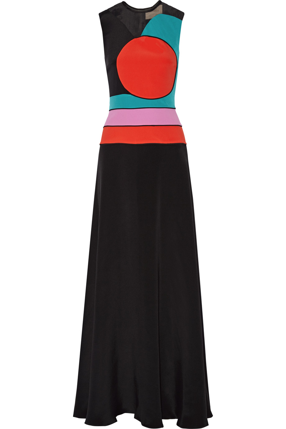 Roksanda Amias Color-Block Silk-Blend Maxi Dress, Black/Red, Women's - Striped, Size: 6