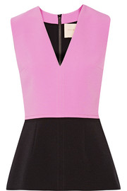 Melis two-tone stretch-cady peplum top