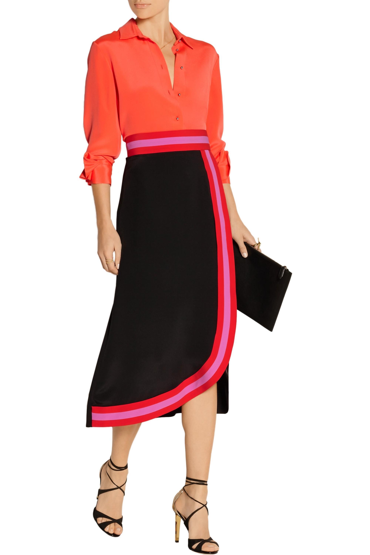 Roksanda Teegan wrap-effect silk-blend crepe de chine skirt